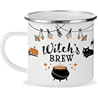 Halloween Fall Autumn Season 12oz Enamel Campfire Mug, Witch's Brew Outdoor Camping Coffee Cup, Gift for Friend, Mom, Sister, Coworker