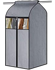 Kntiwiwo Large Garment Bags for Closets 43 Inch Hanging Clothes Cover Bottom Stitching Garment Bags Organizer Storage with Zipper & Visible Windows for Suit Coats Jackets, Grey