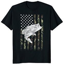 Camouflage Flag Big Mouth Bass Fishing Shirt