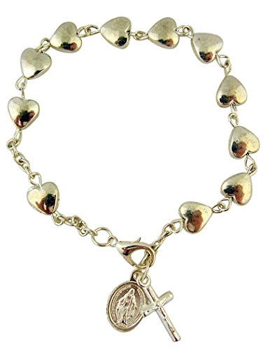 CB Silver Tone Heart Shape Bead Rosary Bracelet with Miraculous Medal Charm, 7 Inch
