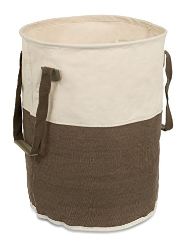 41gtsqo5zTL - BirdRock Home Round Cloth Laundry Hamper with Handles | Dirty Clothes Sorter | Easy Storage | Foldable | Brown and White Canvas