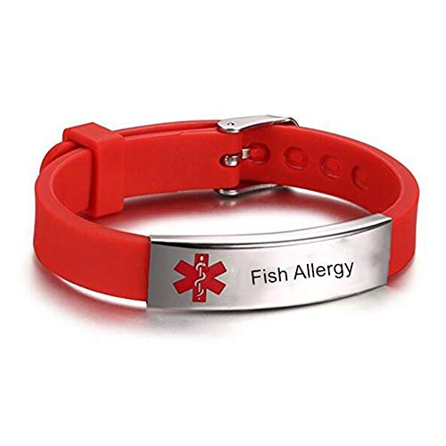 LiFashion LF Stainless Steel Children Mens Womens Red Silicone Chain Adjustable Medical Fish Allergy Bracelet ID Health Alert Monitoring Systems Adjustable Bangle Wristband for Adults Teen Kids