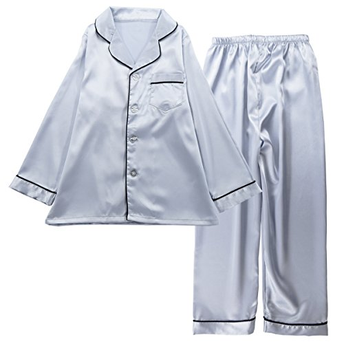 JOYTTON Kids Satin Pajamas Set PJS Long Sleeve Sleepwear Loungewear Silver