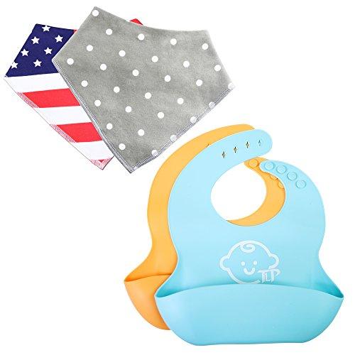 Silicone Baby Bibs for Baby Feeding - Cotton Bandana Bibs 2 of each, BPA Free - Infant Bibs Make Feeding Easy, Silicone Bib With Pocket, Adjustable Easy to Clean