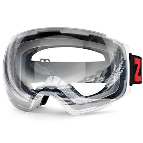 ZIONOR X4 Ski Snowboard Snow Goggles Magnet Dual Layers Lens Spherical Design Anti-Fog UV Protection Anti-Slip Strap for Men Women (VLT 76% Light White Frame Clear Lens) (For Google Ski)