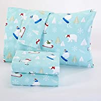 OVS 4 Piece Girls Baby Blue Polar Bears Sheet Set Full Sized, Red White Color Snowflake Skateboard Sledge Pattern Kids Bedding Bedroom, Modern Casual Winter Holiday Teen Themed, Cotton Flannel