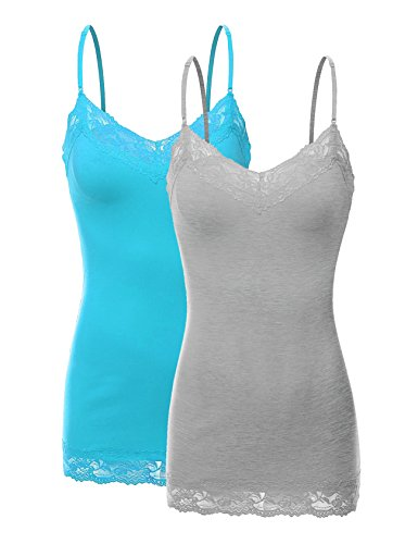 Only Hearts Lace Jersey - Bozzolo RT1004 Pack Ladies Adjustable Spaghetti Strap Lace Tunic Camisole 2Pack-HE.Gry/Aqua S