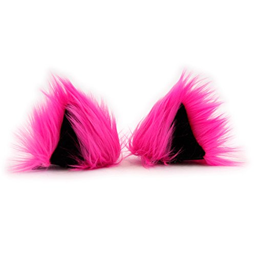 [Pawstar Clip In Furry Kitty Mew Ears Hair Clips On - Hot Pink] (Clip On Cat Ears)