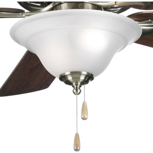 (Progress Lighting P2628-09 2-Light Fan Kit with Etched Glass Bowl Quick-Connect Wiring, Brushed Nickel)