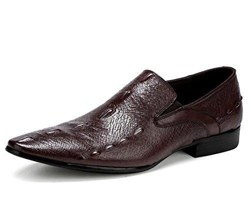 Ponerse Vestido Cuero Formal Tamaño A Zapatos 38 Negocio Brown Patrón Cocodrilo De Hombre Auténtico 45 xqntwpS0zU