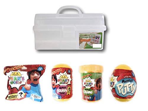 Ryan's World Ultimate Mystery Bundle with Bonus Storage Tackle Box - Includes Mystery Slime, Putty, Squishy & Figurine -