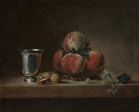 Oil Painting 'Still Life With Peaches, A Silver Goblet, Grapes , Walnuts, About 1759 - 1760 By Jean-Simeon Chardin' 24 x 30 inch / 61 x 76 cm , on High Definition HD canvas prints, Dining Room decor ()
