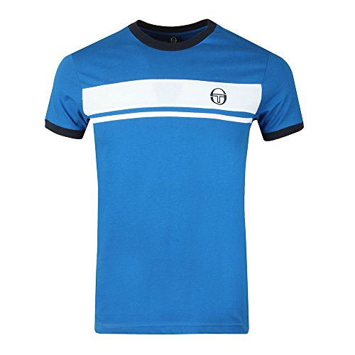 Sergio Tacchini Masters T Shirt in White /& Royal Blue retro crew tee