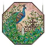 Stained Glass Suncatcher 22'' X 22'' Octagon Panel Jewel Garden Peacock