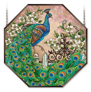 Stained Glass Suncatcher 22'' X 22'' Octagon Panel Jewel Garden Peacock