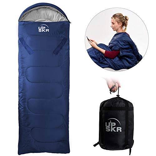 UPSKR Schlafsack mit Kompressionsbeutel,3-4 Jahreszeiten Schlafsack,Wasserdichter Leichter Deckenschlafsack,Reisen und Outdoor,Ideal für Erwachsene und Kinder-190x75 cm