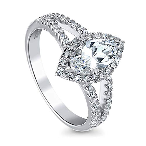 BERRICLE Rhodium Plated Sterling Silver Marquise Cut Cubic Zirconia CZ Halo Promise Engagement Split Shank Ring 1.31 CTW Size 9