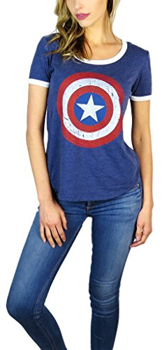 Marvel Womens Captain America Burnout Ringer Tee (X-Large, Navy) ()
