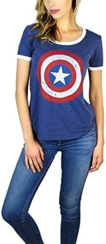 Marvel Womens Captain America Burnout Ringer Tee