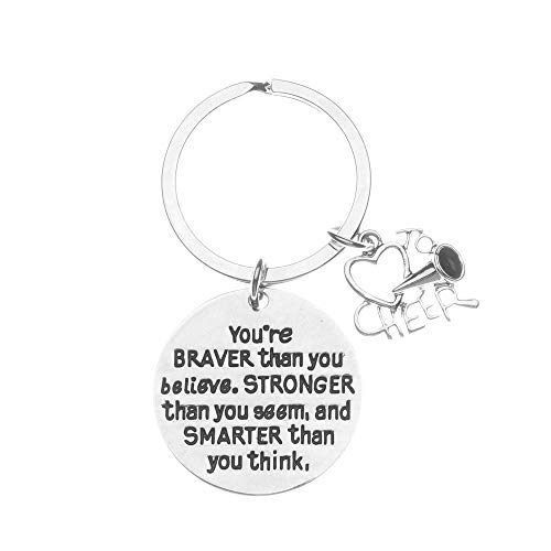 Cheerleader Bag Custom Spirit - Cheer Charm Keychain, Inspirational You're Braver Than You Believe, Stronger Than You Seem & Smarter You Think Jewelry, Cheerleading Gifts for Cheerleaders and Cheer Teams