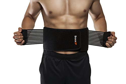 BraceUP Stabilizing Lumbar Lower Back Brace Support Belt Dual Adjustable Straps Breathable Mesh Panels (L/XL) (Weight Lifting Belt For Lower Back Pain)