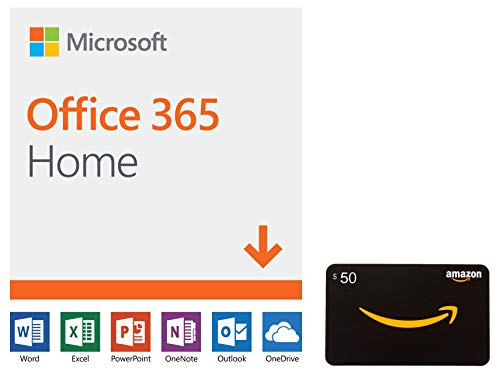 Microsoft Office 365 Home | 12-month subscription, up to 6 people, PC/Mac Download with Amazon.com $50 Gift Card
