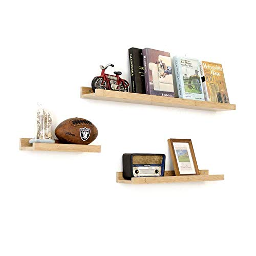 Haoren Wood Wall Mounted Floating Ledge Shelf Shelves for Picture Books Decorations New (Wood, Small)