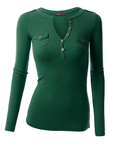 Top Emerald Green (Doublju Stretch Cotton Fitted Deep V-Neck Henley T-Shirt Top (Plus size available) EMERALD 2XL)