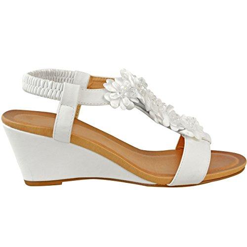 Damen Sandalen Kunstleder Damen Durstig Keilabsatz Mode Stretch Größe Heelberry® Sparkly Weiß Niedrigen Perlen Brautschuhe qEYWBn