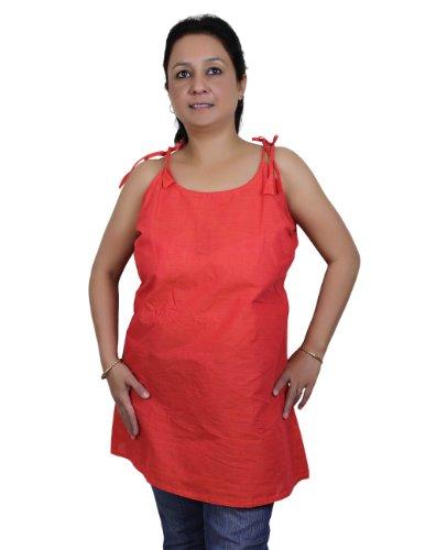 Spaghetti Strap débardeurs pour les femmes en rouge tomate Handloom coton tissé Buste 91 Cm x longueur 53 Cm.