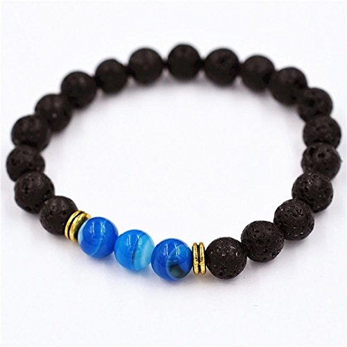 Owill Women Men Alloy Agate Bracelet Elastic Beaded Bracelet Tibet Charming Bracelets (A, Blue) ()