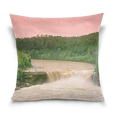 Cumberland Falls Kentucky Water Wood Trees Throw Pillow Case Decorative Cushion Cover Square Pillowcase, Cumberland Falls Kentucky Water Wood Trees Sofa Bed Pillow Case Cover 18 X 18 Inch Twin Sides