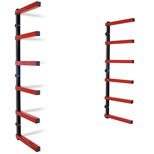 Titan 6 Shelf Lumber Storage Rack Steel Wall-Mounted Indoor/Outdoor 600 lb Max ()