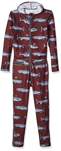 AIRBLASTER Youth Hooded Outdoor Base Layer Ninja Suit, Burgundy Fish, Medium ()