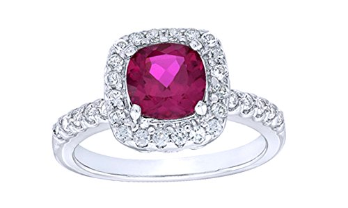 White Sapphire Frame Ring - Jewel Zone US 7.0mm Cushion Cut Simulated Ruby & White Sapphire CZ Frame Ring in Gold Over Sterling Silver