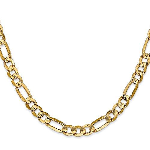 Brilliant Bijou Genuine 14k Yellow Gold 6mm Concave Open Figaro Chain Necklace 22 inches ()