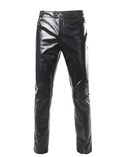(ZEROYAA Mens PU Faux Leather Side Zipper Moto Jeans Style Metallic Pants/Straight Leg Trousers US 32/Asian XXL Black )