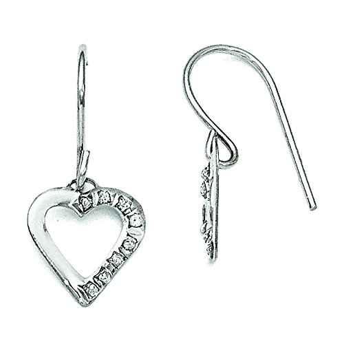 14k White Gold Diamond Heart Shape Dangle Earrings