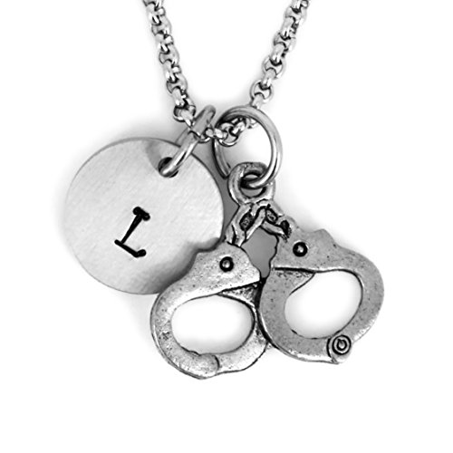Antique Silver Plated Pewter Handcuff Necklace, personalized. Woman police officer. Handcuffs charm. Handcuffs Necklace. Handcuff pendant ()