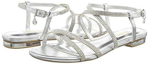 Silver Sandales Dune silver Argenté Bout Ouvert leather Neve leather Femme HwxwqO85