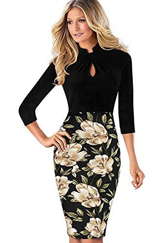 Babyonlinedress 3/4 Sleeve O-Neck Sheath Work Dress for Women Office