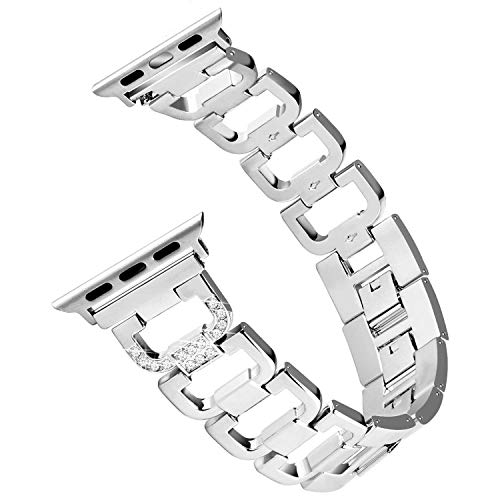 Hotodeal Bling Bands Compatible Apple Watch Band 38mm Women Stainless Steel Metal Replacement Band Compatible Iwatch Wristband Sport Strap Nike+,Series 3/2/1,Sport Edition Silver