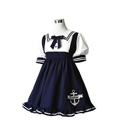 【Cospland】ロリータ 洋服 ワンピース セーラー少女 青二本 レディース 春 夏 森ガール Aライン (M  短袖)