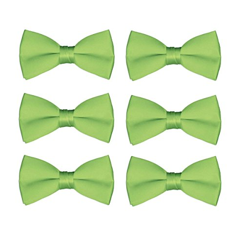 Men's Bow Tie Wholesale Pre-Tied Formal Tuxedo Solid Bowties 6 Pack (Lime Green) ()