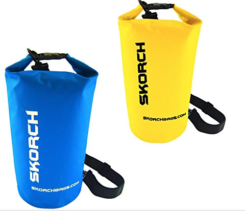 SKORCH Twin Pack Dry Bags Blue + Yellow 10L. Because Your Next Adventure its Just Around The Corner. (Tandem Fishing Kayaks)