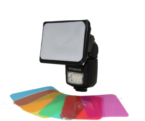 Polaroid Universal Gel Soft Box Diffuser (Includes Blue, Red, Green, Amber, Yellow & Pink Gels) For The Canon Digital EOS Rebel SL1 (100D), T5i (700D), T5 (1200D), T4i (650D), T3 (1100D), T3i (600D), T1i (500D), T2i (550D), XSI (450D), XS (1000D), XTI (400D), XT (350D), 1D C, 70D, 60D, 60Da, 50D, 40D, 30D, 20D, 10D, 5D, 1D X, 1D, 5D Mark 2, 5D Mark 3, 7D, 6D, EOS M Digital SLR Cameras