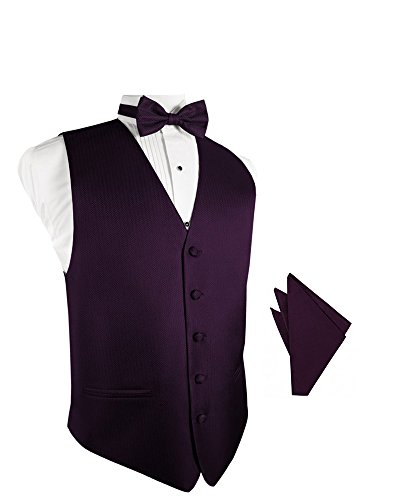 Raisin Herringbone Tuxedo Vest with Bowtie & Pocket Square Set ()