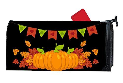 Happy Halloween Pumpkins Mailbox Makover Cover, All-Weather Vinyl witn Full Magnetic Steel Metal Standard Mailbox, 6.5 x 19 -
