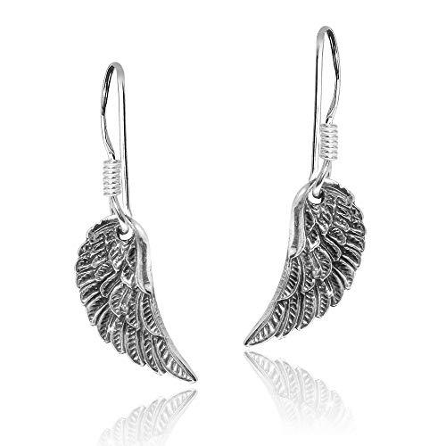 (.925 Sterling Silver Divine Ornate Angel Wings Fish Hook Dangle Earrings)