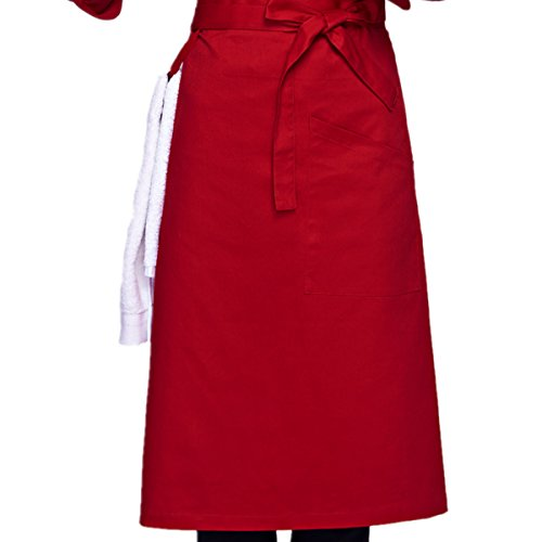 XINFU Chef Men's Unisex Waist Apron Full Bistro Half Apron Uniforms Aprons Womens